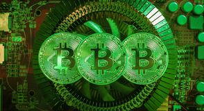 Bitcoin metal coin lying on green microscheme stock images