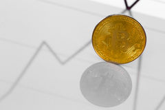 Bitcoin metall coin on a chart Royalty Free Stock Images