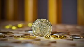 Bitcoin-Metallmünze lizenzfreies stockfoto