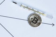 Bitcoin miente en el diagrama al lado de un termómetro con un alto te Imagenes de archivo