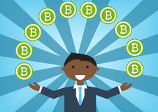 Bitcoin millionaire  illustration as example for success in technology industry Stock Photo