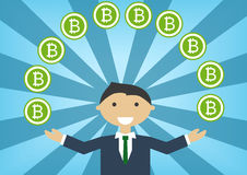 Bitcoin millionaire  illustration as example for success in technology industry Royalty Free Stock Photo
