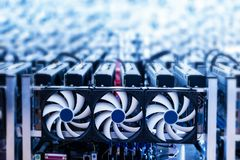 Bitcoin miner. IT device with cooling fans. Bitcoin miner. Cryptocurrency mining machines. IT device with cooling fans. Technology royalty free stock photo