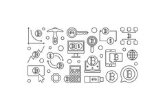 Bitcoin minimal banner. Vector crypto currency mining concept il Royalty Free Stock Photos