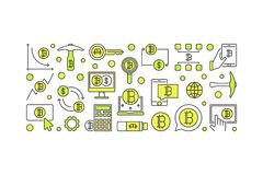 Bitcoin minimal colorful banner - vector crypto currency mining. Concept illustration on white background Stock Images