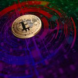 Bitcoin Mining Abstract Background. Bitcoin mining concept. 3D illustration Stock Image