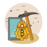 Bitcoin mining cartoons royalty free illustration