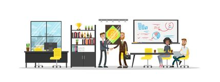 Bitcoin mining center. Bitcoin mining center room with business people on white Stock Images