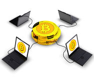 Bitcoin Mining. Computer generated photo of a Bitcoin electronic currency Stock Photos