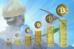 Bitcoin mining concept Royalty Free Stock Image