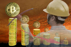 Bitcoin mining concept Stock Photo