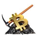 Bitcoin Mining Concept. 3D illustratioo royalty free illustration