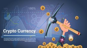 Bitcoin Mining Concept Hand Holding Pickaxe Internet Digital Money Crypto Currency Concept. Vector Illustration Stock Images