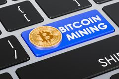 Bitcoin mining concept on keyboard button, 3D rendering. Bitcoin mining concept on keyboard button, 3D Stock Photo