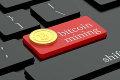 Bitcoin mining concept on keyboard button Royalty Free Stock Image