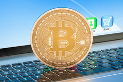 Bitcoin mining concept on laptop keyboard, 3D rendering. Bitcoin mining concept on laptop keyboard, 3D Stock Image