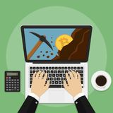 Bitcoin mining concept with laptop, pickaxe, coin and mountain. Earning cryptocurrency. Vector illustration Stock Photo