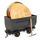 Bitcoin mining concept. Mine cart with bit coins and pickaxe, 3D. Rendering isolated on white background Royalty Free Stock Photography