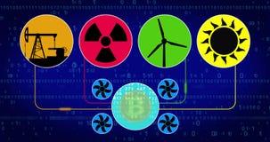 Bitcoin mining concept with nuclear wind turbine solar and oil energy