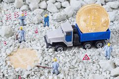 Bitcoin mining concept Royalty Free Stock Images