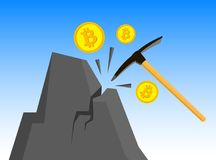 Bitcoin mining concept with pickax. E, coin and mountain Stock Image
