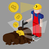Bitcoin mining concept with pickaxe, young man character, coin and mountain graph. Stock Photography