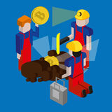 Bitcoin mining concept with pickaxe, young man character, coin and mountain graph. Stock Images