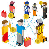 Bitcoin mining concept with pickaxe, young man character, coin and mountain graph. Royalty Free Stock Photo