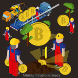 Bitcoin mining concept with pickaxe, young man character, coin and mountain graph. Royalty Free Stock Image