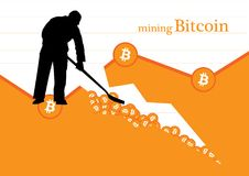 Bitcoin mining concept Vector illustration Royalty Free Stock Photos