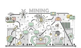 Bitcoin mining concept vector illustration in flat linear style. Bitcoin mining concept vector illustration. Digital currency or cryptocurrency mining process Stock Photos
