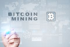 Bitcoin mining. Cryptocurrency, blockchain. Financial technology and internet concept. Bitcoin mining. Cryptocurrency, blockchain. Financial technology and Royalty Free Stock Photography