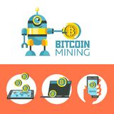 Bitcoin mining. Cute robot produces bitcoins. Vector illustration. royalty free illustration