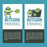 Bitcoin mining. Cute robot produces bitcoins. Vector illustration. royalty free illustration