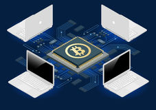 Bitcoin mining equipment. Digital Bitcoin. Golden coin with Bitcoin symbol in electronic environment. Flat 3d isometry. Isometric online mining bitcoin concept vector illustration