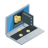 Bitcoin mining equipment. Digital Bitcoin. Golden coin with Bitcoin symbol in electronic environment. Flat 3d isometry. Isometric online mining bitcoin concept stock illustration