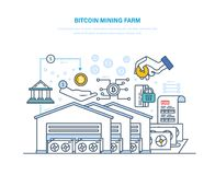 Bitcoin mining farm. Computer data processing center, implementation, processing transactions. Bitcoin mining farm. Computer data processing center, bitcoin Royalty Free Stock Images