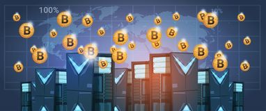 Bitcoin Mining Farm Data center Over World Map Digital Crypto Currency Modern Web Money. Vector Illustration Stock Photos