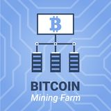 Bitcoin mining farm illustration with title. Computer mining cryptocurrency sign   Stock Photo