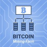 Bitcoin mining farm illustration with title. Computer mining cryptocurrency sign on on chipset background. Stock Photography