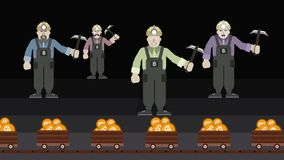 Bitcoin mining. Four miners and mine trolleys with bitcoin . 2D Animation stock illustration