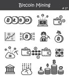 Bitcoin mining icon set 1.  Royalty Free Stock Images