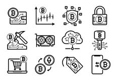 Bitcoin mining icons set in Black and White. Cryptocurrency Bitcoin Etherium mining icons set in Black and White Royalty Free Stock Photos