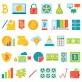 Bitcoin mining money icons vector virtual crypto currence blockchain finance internet business bit cryptocurrency coins. Traiding investment illustration Stock Photos