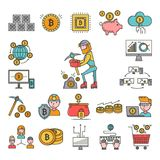 Bitcoin mining money icons virtual crypto currence blockchain vector finance business bit cryptocurrency coins.. Bitcoin mining money icons virtual crypto Stock Images