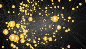 Bitcoin mining, moving connected bitcoin symbols,4k video. Movement bitcoin in the form of circles connected among themselves by white lines similar to the web stock illustration