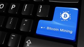 93. Bitcoin Mining Moving Motion On Computer Keyboard Button. royalty free illustration
