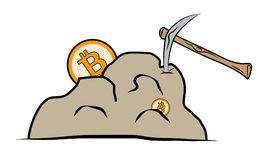 Bitcoin mining process using pickax on solid rock.  Stock Images