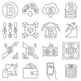 Bitcoin Mining Thin Line Icon Set. Blockchain, Cryptocyrrency Pictogram Collection vector illustration