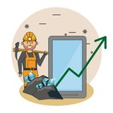 Bitcoin mining cartoons stock illustration